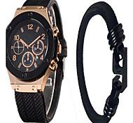 Men's Women's Couple's Unisex Fashion Watch Wrist watch / Quartz Silicone Band Casual Black