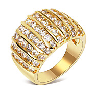Women Finger Rings 18K Real Gold Plating Top Quality Cubic Zircon Setting Environmental Friendly Material Lead Free