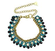 Wide Rhinestone Metal Chain Bracelet