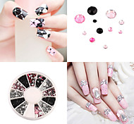 3D nail jewelry Acrylic Nail Art Decoration 4 Sizes Black White Pink Round Wheel Diy Glitter Rhinestones