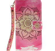 Painted Pink Flowers Pattern Card Can Lanyard PU Phone Case For Sony Z2 Z3 Z3mini M4