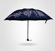 guarda-chuva cereja ensolarado guarda-chuva meninas dobrar vinil sol três dobrar pala de sol dupla