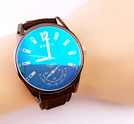 Men's leisure and  simple Blue reflective glass rubber band quartz watch