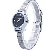 Women/Lady's Thin Silver Alloy Band White/Black Case Analog Quartz Fashion Dress Casual Watch Strap Watch