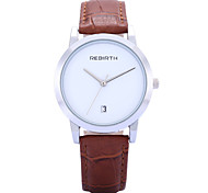 REBIRTH Women's Simple Fashion Date Display PU Leather Strap Quartz Wrist Watch