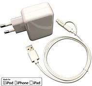 CE Certified EU Travel Wall Charger 1A/2.1A Double output+ MFi Certified Lightning +Micro USB cable For iPhone 6S