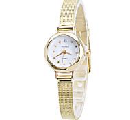 Women/Lady's Thin Gold/Silver Alloy Band White Case Analog Quartz Fashion Dress Casual Watch