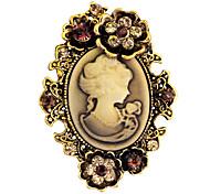 vendimia broche broches de diamantes de imitación joyas de la reina del camafeo antiguo de la manera de plata del oro de las mujeres para