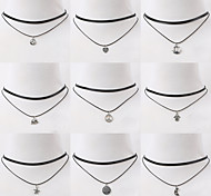 Necklace Choker Necklaces Pendant Necklaces Tattoo Choker Jewelry Daily Casual Tattoo Style Fashion Alloy Nylon 1pc Gift Black Silver