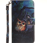 Painted Owl Pattern Card Can Lanyard PU Phone Case For Samsung Galaxy Note 4 5 7