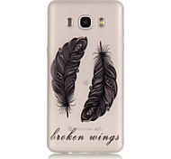 TPU material The New Black Feather Pattern Luminous Phone Case for GalaxyJ710/J510/J3/J120/G530/G360/I9060
