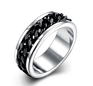 Men's 316L Titanium Steel Silver Band Ring Jewelry with Chain