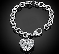 Exquisite S925 Silver Hollow Heart Pendant Charm Heart Chain Bracelet Christmas Gifts