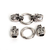 Beadia 1Set Metal Clasps 55x25mm Skull Jewelry Spring Leather Cord Bracelet Connectors (8mm Hole Size)