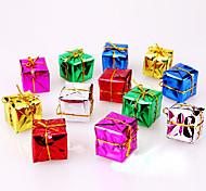 12шт рождественские украшения подарки роль ofing рождественской елки украшения подарка рождества цвет случайный