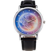 Damen Modeuhr / Armbanduhr Quartz / digital Mond Phase Leder Band Vintage / Süßigkeit / Bettelarmband / Cool / BequemSchwarz / Weiß /