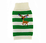 Cat / Dog Sweater Red / Green Dog Clothes Winter Deer New Year's / Christmas