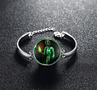 Terrorist Evil Skeleton Halloween Holiday Gift Silver Bracelet In the Evening Glow Green