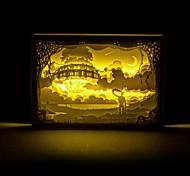 1PC   Hayao Miyazaki Sky City  Three-Dimensional Carving  Silhouette Lamp Night Light  Photo Frame  Lamp