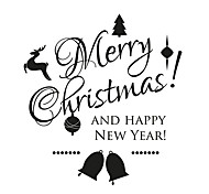 Christmas Stickers Bells Decals Christmas Words & Quotes Stickers For Home Decor
