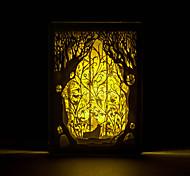 1шт оленей в лесу трехмерный силуэт вырезаны лампа горит нордический фото рамка свет ночи