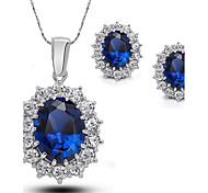Women European Style Luxury Fashion Blue Gemstone Earrings Necklace Set