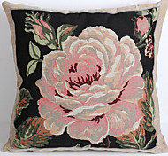 Linen Pillow Cover/Case   Woven Traditional/Classic Big Red Flower  Feature