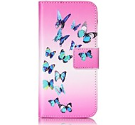 Butterfly Strong Relief Colored Card Holder PU Material Leather for  iPhone 7 6s  SE 5s 5