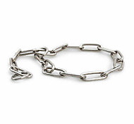 Dog Collar Reflective / Adjustable/Retractable Solid Silver Stainless Steel