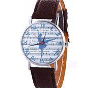Women's Fashion Cool Quartz Casual Watch Leather Belt Music Score Dancing Movement Pattern Watch Unique Watch