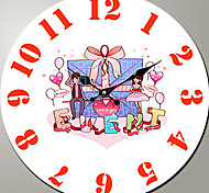 1PC Fashion Cartoon Style The Sitting Room Bracket Clock The Children Room Wooden Clock (Pattern is Random)