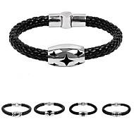 Men's Snake Weave Stainless Steel Alloy Wrap Leather Bracelet