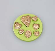 Top selling products 7 cavities love heart shape silicone mold for cake decoration tools Color Random