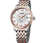 NAKZEN Men's Gold Silver Steel Band Black/White Case 30M Water Resistant Dress Calendar Watch(Include Package)