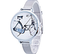 Women/Lady's Gold/Silver Steel Thin Band Bike White Round Case Analog Quartz Fashion Watch