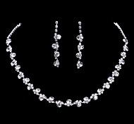 Conjunto de Jóias Brincos Compridos Colar / Brincos Moda Elegant Casamento Imitações de Diamante Jóias Dourado Prata Branco/BrancoColares