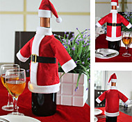 A Lovely Set Of Red Wine Bottle Covers Christmas Dinner Table Decorations Clothes And Hats Home Decorations