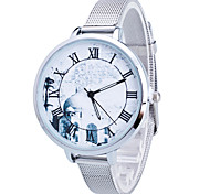 Women/Lady's Gold/Silver Steel Thin Band White Round Case Analog Quartz Fashion Watch