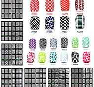 20 Designs/Set Nail Art Sticker Nail Hollow Stencil Stickers Fish Scale Pattern DIY Nail Stamping Polish Guide Tools