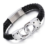 Kalen®2016  Fashion 316L Stainless Steel Infinity Charm Male Leather Bracelets Cool Men's  s Christmas Gifts