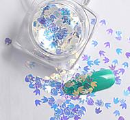 2g/box New Symphony Blue Bats/Maple Leaf/Apple Paillette Glitter Nails 3d Slice Powder Set DIY Design