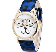 Women's Leopard Cat Shape PU Leather Band Fashion Watch