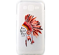 For Samsung Galaxy J5 Feather Hat Pattern Painting Diamond Transparent TPU Material Phone Case