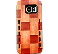 For Samsung Galaxy S7 edge S7 Anti-Drop Vertical Square Wood Grain Rubber Combo Phone Case