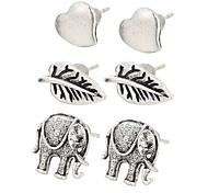 3 Pairs Retro Fashion Charm Silver Color Boho Earrings Vintage Minimalist Heart Leaves Elephant Stud Earrings For Women