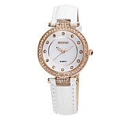 WEIQIN Womens Watch Luxury Rhinestone Bezel Rhinestone Dial Ladies Genuine Leather Strap Womens Simple Personality Watches