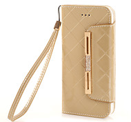 The New Solid Color Hardware Diamond oil Leather PU Mobile Phone Holster Phone Case for iPhone 7 7plus