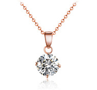 Fashion Luxurious Gold Tone Round Cubic Zirconia Pendant Necklace