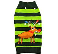 Cat / Dog Sweater Green Dog Clothes Winter Reindeer Cute / Christmas