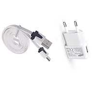 Charger Kit Home Charger EU Plug 1 USB Port with Cable For Cellphone(5V , 1A)